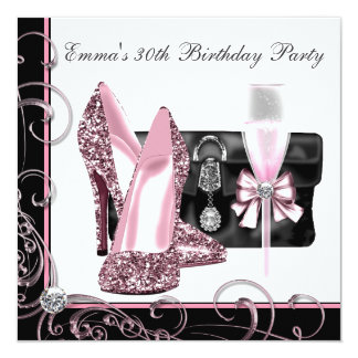 Womans Pink and Black Birthday Party Announcements