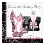 "Womans Pink and Black Birthday Party 5.25"" Square Invitation Card"