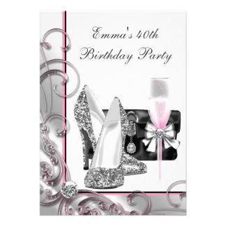 Womans Pink Birthday Party Custom Invitation