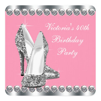 Womans Pink Birthday Party 5.25x5.25 Square Paper Invitation Card