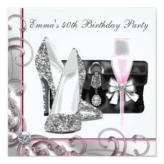 Womans Pink Birthday Party Custom Invite