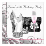 """Womans Pink Birthday Party 5.25"""" Square Invitation Card"""