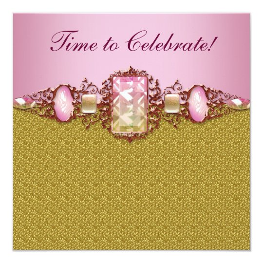 Womans Pink Gold Birthday Party Card
