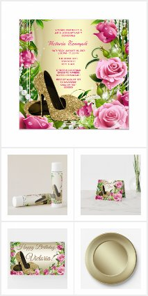 Womans Pink Gold Rose High Heel Birthday Party