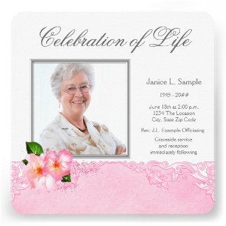Womans Pink Photo Memorial Service Announcement