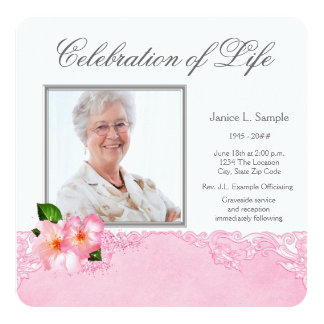 "Womans Pink Photo Memorial Service Announcement 5.25"" Square Invitation Card"