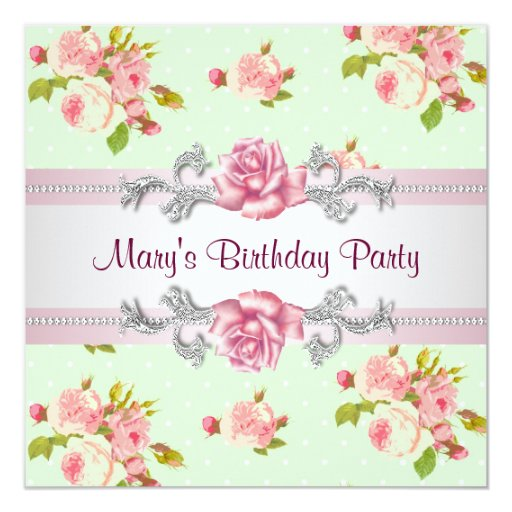 Womans Pink Rose Birthday Party Card  Zazzle