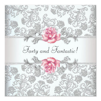 Womans Pink Rose Damask 40th Birthday Party Card