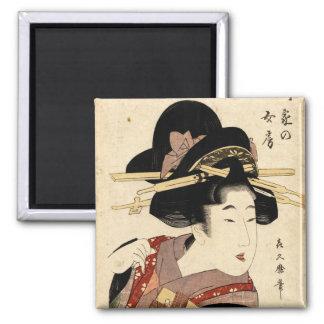 woman's portrait (machiya no nyobo) 2 inch square magnet