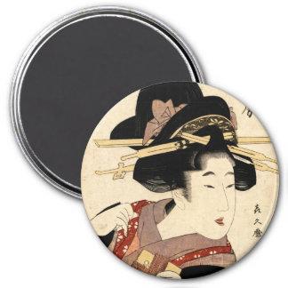 woman's portrait (machiya no nyobo) 3 inch round magnet