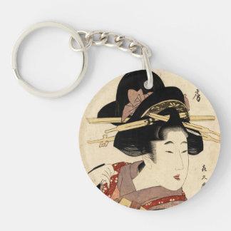 woman's portrait (machiya no nyobo) Double-Sided round acrylic keychain