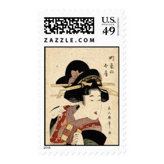 woman's portrait (machiya no nyobo) postage