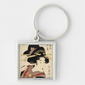 woman's portrait (machiya no nyobo) Silver-Colored square keychain