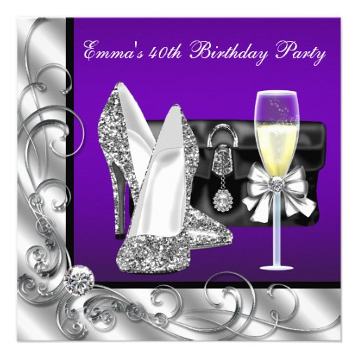 Womans Purple 40th Birthday Party Invitations