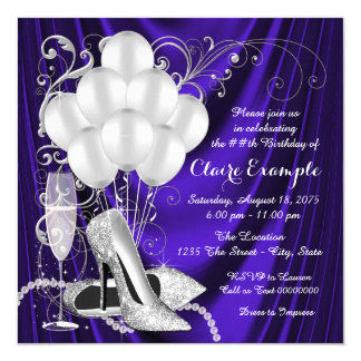 Womans Purple and Silver Birthday Party Luxe Invitation