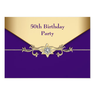 Womans Purple Gold 50th Birthday Party 5x7 Paper Invitation Card