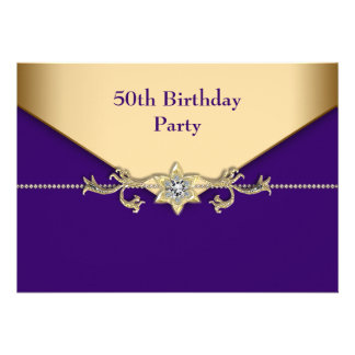 Womans Purple Gold 50th Birthday Party Personalized Invitation