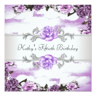 Womans Purple Lavender Roses 50th Birthday Party Invitation