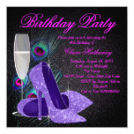 "Womans Purple Peacock Birthday Party 5.25"" Square Invitation Card"