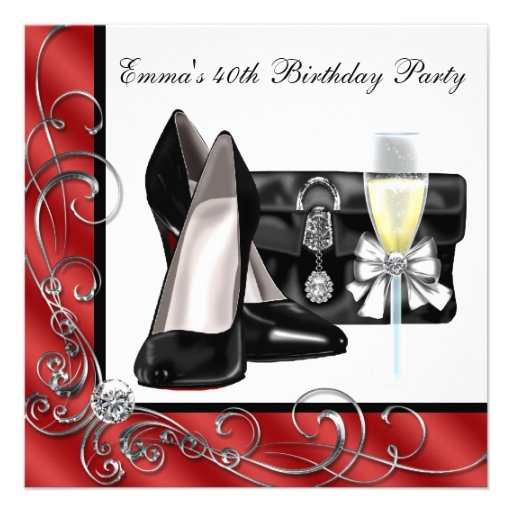 Womans Red 40th Birthday Party Invitations