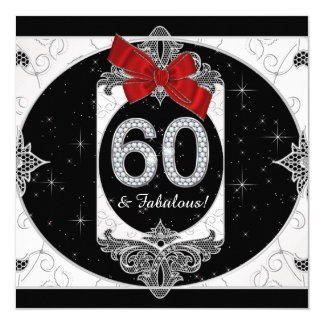 Womans Red and Black 60th Birthday Party Card