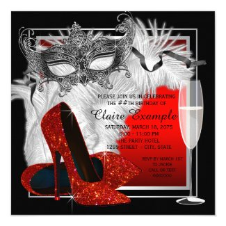 Womans Red and Black Masquerade Birthday Party Invitation