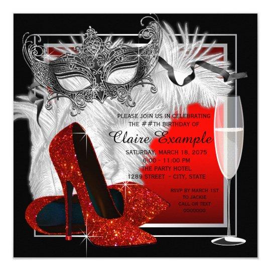Womans Red And Black Masquerade Birthday Party Invitation Zazzle Com