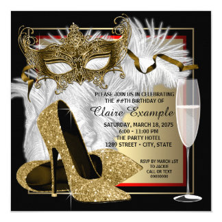 Womans Red and Gold Masquerade Party Card