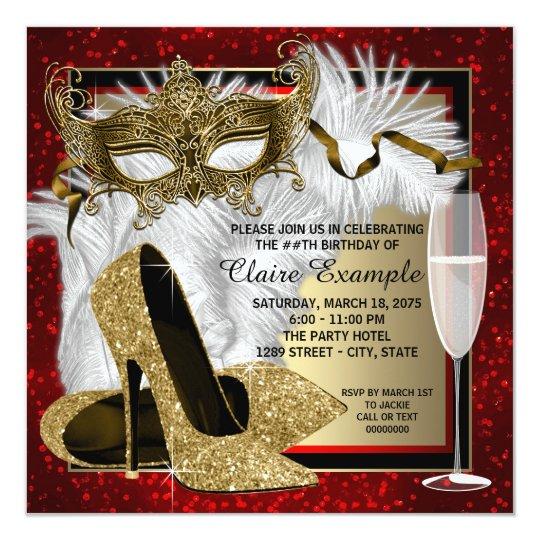 Womans Red And Gold Masquerade Party Invitation Zazzle Com