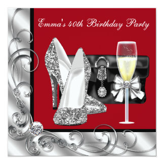Womans Red Birthday Party Card