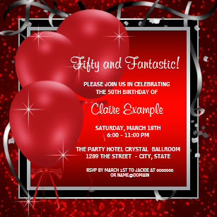 womans red black 50th birthday invitations zazzle