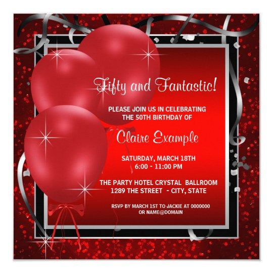 womans red black birthday party invitations zazzle com