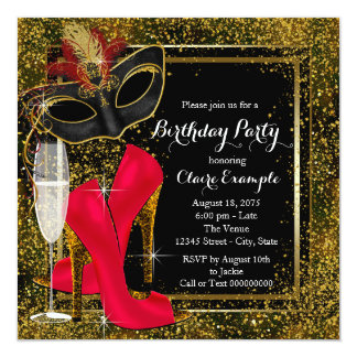 Womans Red Black Gold High Heel Birthday Party Card