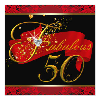 Womans Red Fabulous 50th Birthday Party Personalized Invites