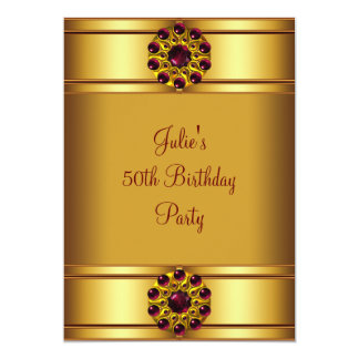 Womans Red Gold Birthday Party Personalized Invites