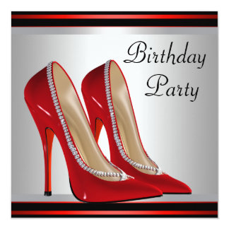 Womans Red High Heel Shoes Birthday Party Card