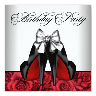 Womans Red Rose Birthday Party 5.25x5.25 Square Paper Invitation Card
