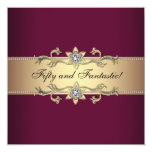 Womans Red Wine Gold 50th Birthday Party Card