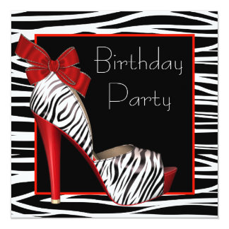 Womans Red Zebra Birthday Party Invitations