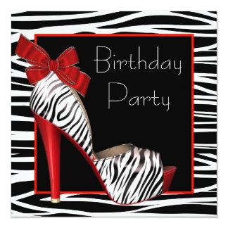 Womans Red Zebra Birthday Party Invitations
