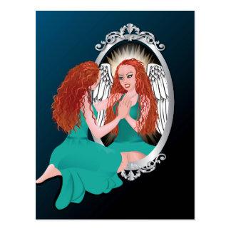 Woman's Reflection Green Postcard