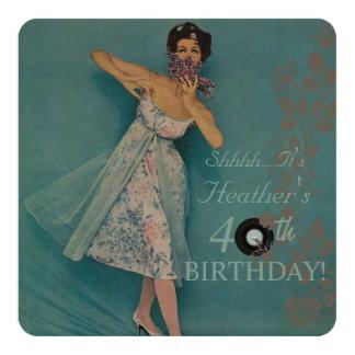 Woman's Retro Style Birthday Party Invitations