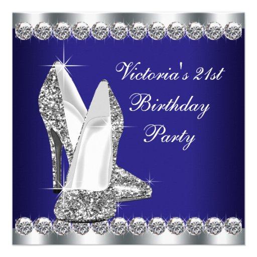 Personalized 35th birthday invitations custominvitations4u womans royal blue 21st birthday party custom invite filmwisefo