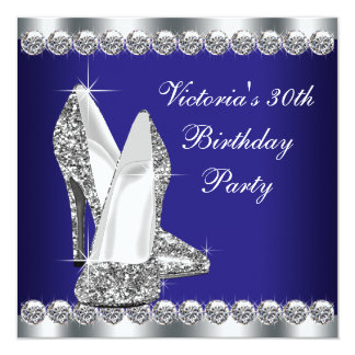 Womans Royal Blue 30th Birthday Party Personalized Announcements