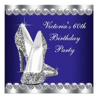Womans Royal Blue 60th Birthday Party Custom Announcement