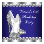 Womans Royal Blue 60th Birthday Party Invitation