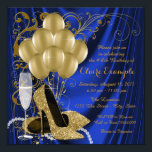 "Womans Royal Blue and Gold Birthday Party Luxe Invitation<br><div class=""desc"">Royal blue and gold birthday party invitation featuring beautiful gold glitter high heel shoes, gold balloons, champagne pearls and elegant gold swirls on a luxurious royal blue satin background. This elegant blue and gold birthday party invitation is easily customized for your event by simply adding your details in the font...</div>"