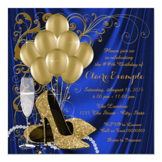 "Womans Royal Blue and Gold Birthday Party Luxe 5.25"" Square Invitation Card"