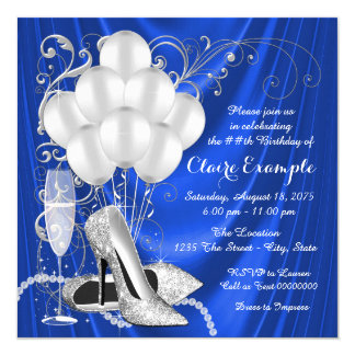 Womans Royal Blue and Silver Birthday Party Card
