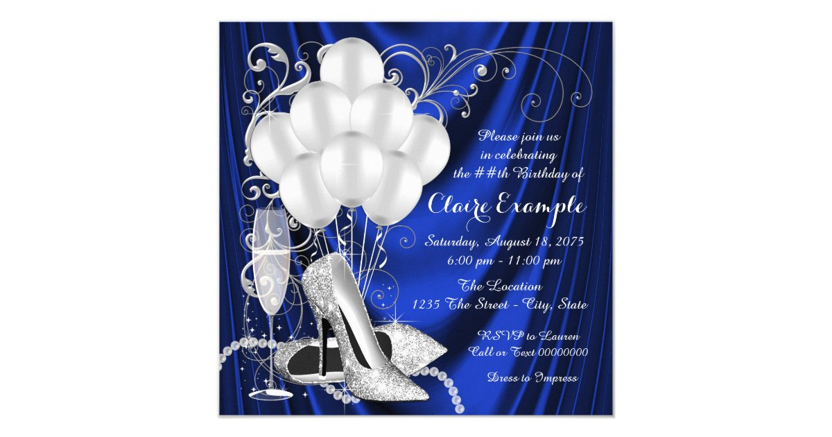 Womans Royal Blue And Silver Birthday Party Luxe Card Zazzle